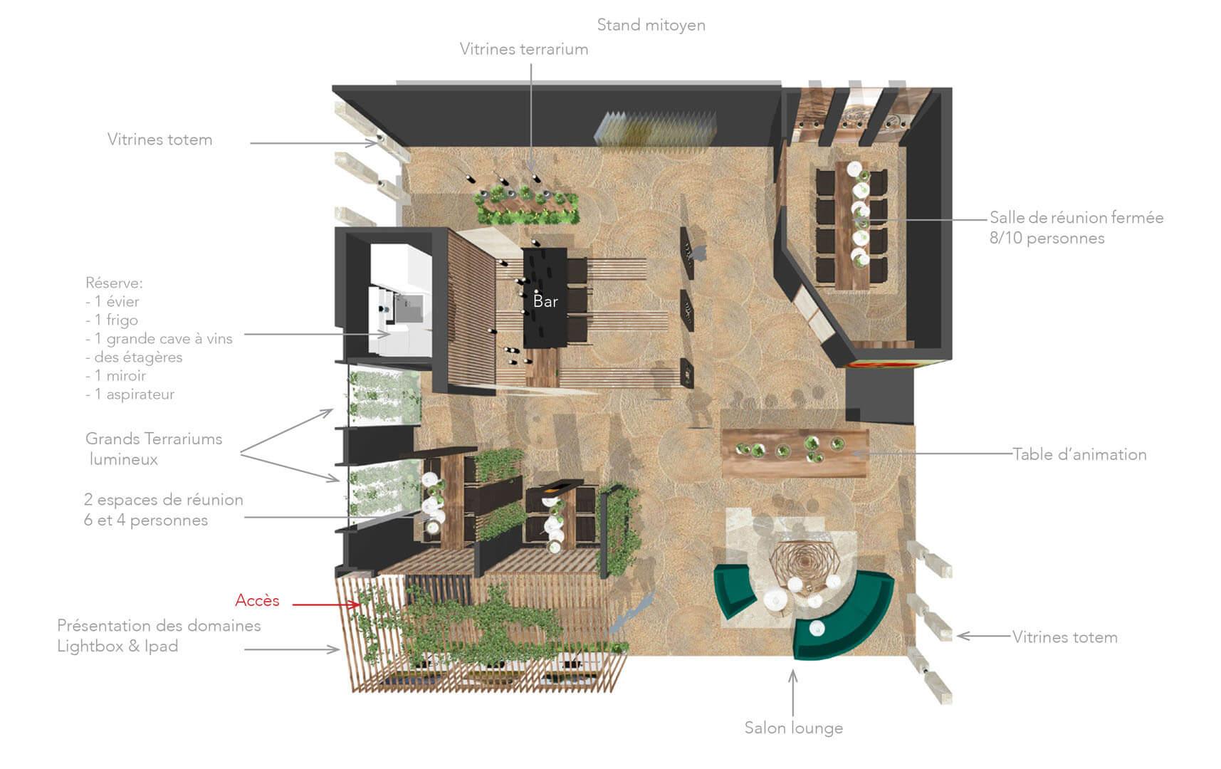 Création d'un stand pour une célèbre maison de vins possédant 3 domaines dans 3 régions différentes. La volonté des clients était d'avoir 2 stands en 1, le plus petit pour un premier salon (30m2), utilisable indépendamment du second. Et le stand entier (100m2) pour un autre salon.